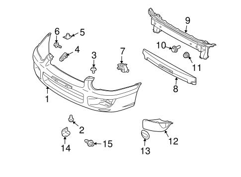bumper & components - front for 2005 subaru impreza | subaru parts ... subaru impreza parts diagram  subaru parts