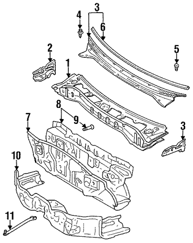 BODY/COWL for 1998 Toyota Tercel #1