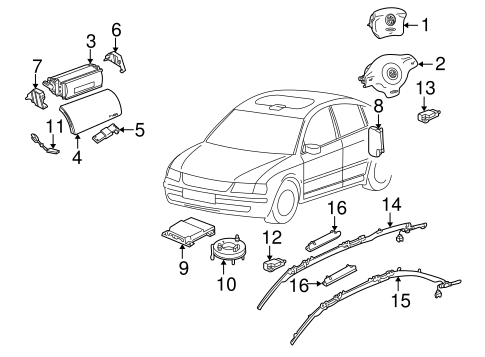 Air Bag Components for 2000 Volkswagen Golf #0