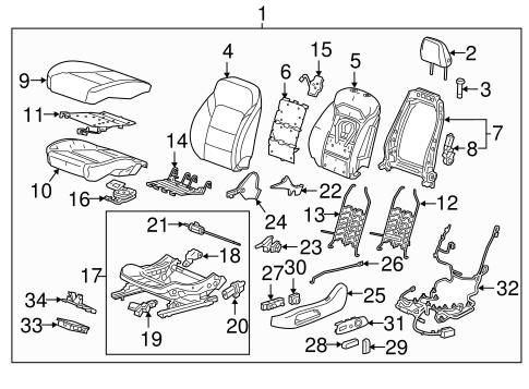 Oem 2017 Chevrolet Malibu Driver Seat Components Parts