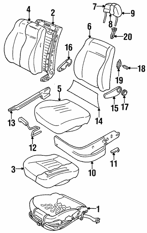 Front Seat Components For 1997 Volkswagen Jetta
