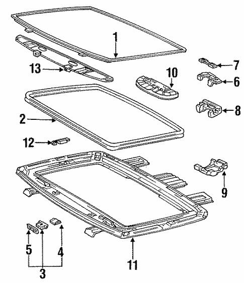 Genuine Oem Sunroof Parts For 1991 Toyota Mr2 Base