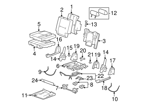 Rear Seat Components For 2007 Cadillac Escalade Esv
