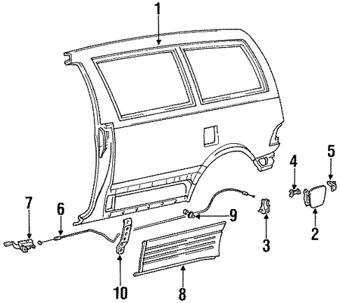 BODY/EXTERIOR TRIM - SIDE PANEL for 1996 Toyota Previa #2
