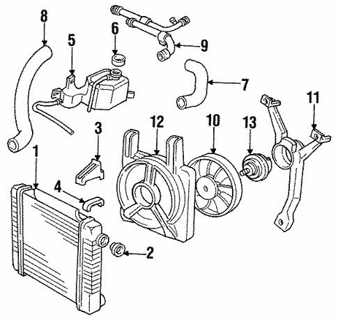 [DIAGRAM_4FR]  Radiator & Components for 1993 Pontiac Sunbird   GMPartOnline   1993 Pontiac Sunbird Engine Diagram      GM Parts Online