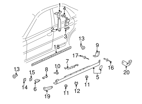 Exterior Trim Pillars For 1999 Audi A4 Quattro Audi Usa Parts