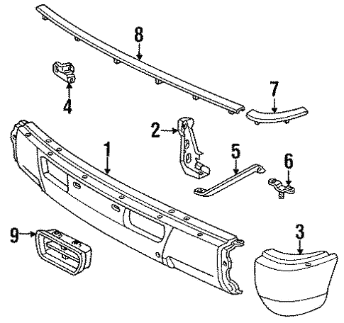 Genuine OEM Bumper & Components - Front Parts for 1994