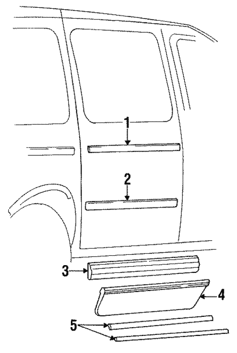 Exterior Trim - Side Door for 1993 Chrysler Town & Country #0