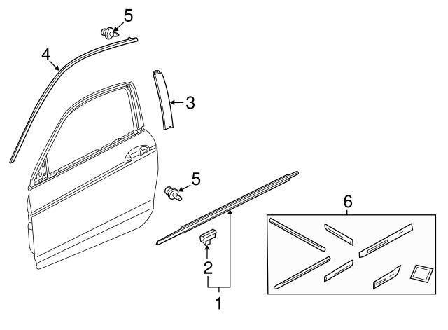 Genuine Honda 72450-T2A-A01 Door Molding Assembly