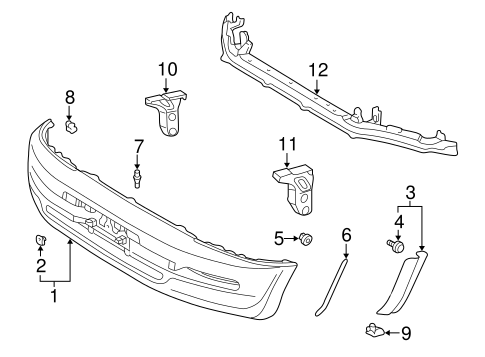 Bumper & Components - Front for 1996 Toyota RAV4 #0