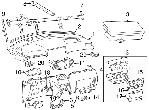 Genuine Oem Instrument Panel Parts For 2005 Toyota Corolla Xrs
