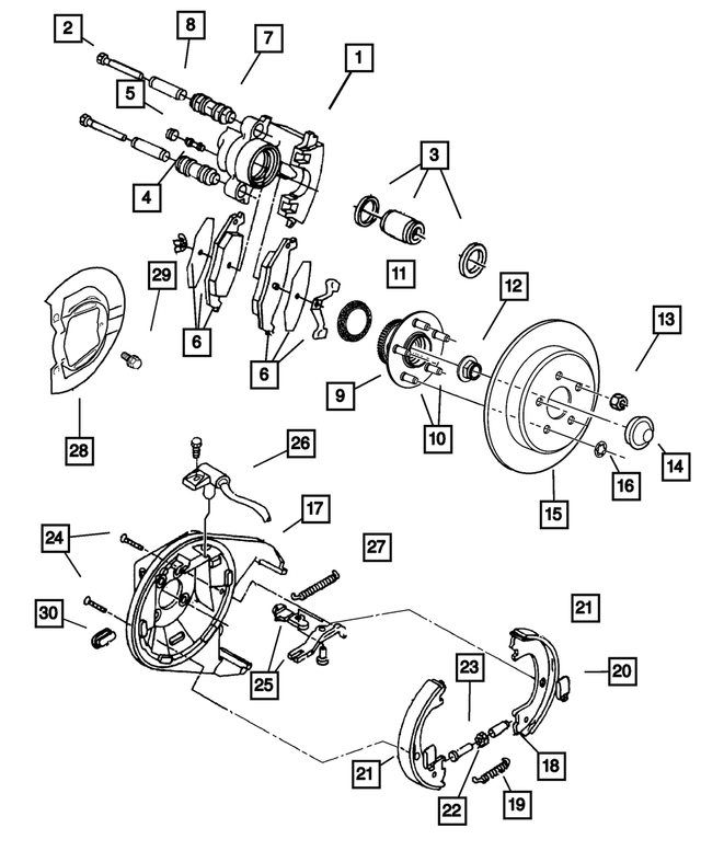 Disc Brake Caliper, Right - Mopar (5018206AA)