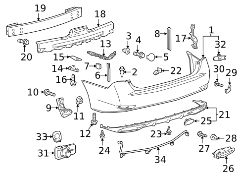 Bumper & Components - Rear for 2007 Lexus IS250 #1