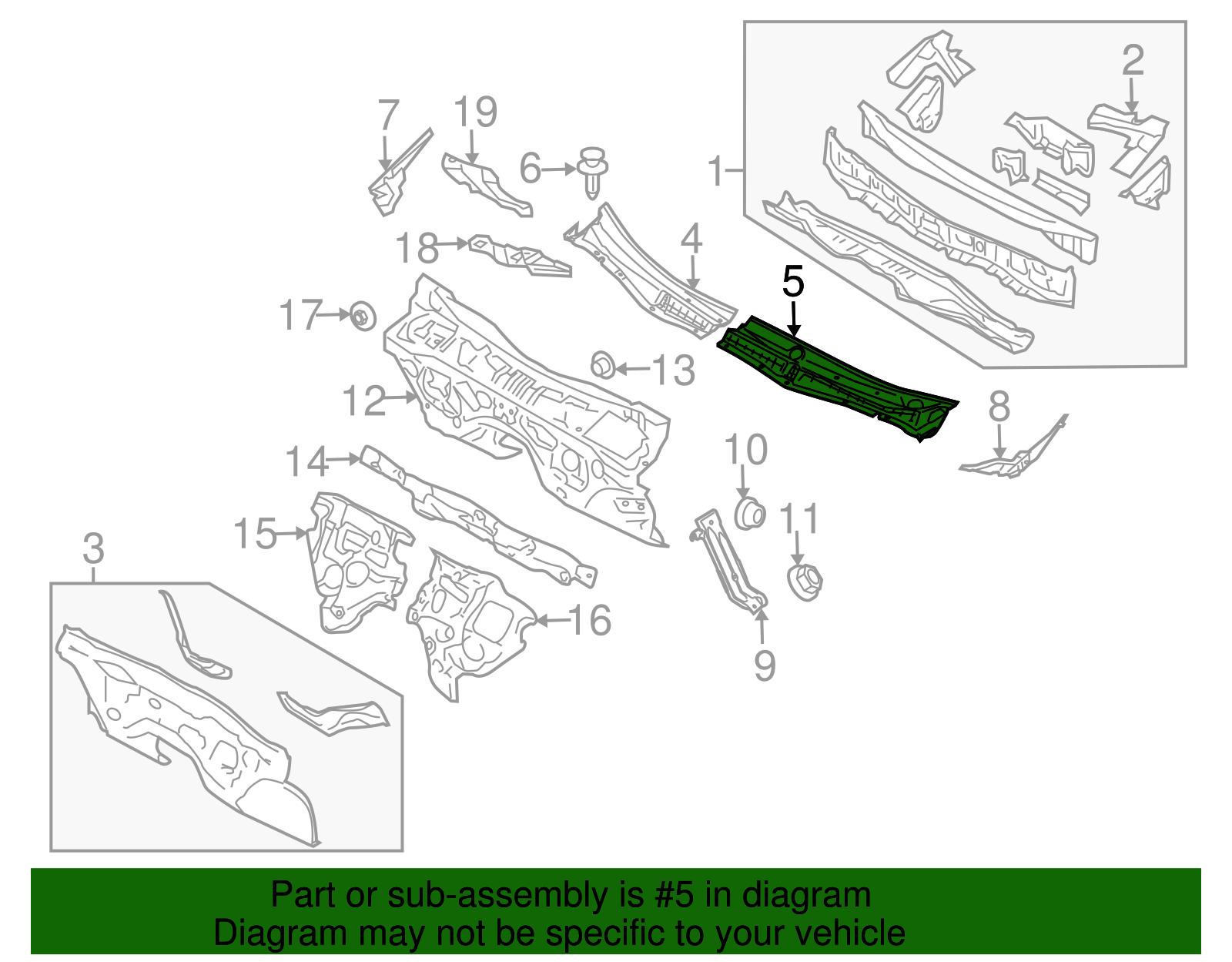 Subaru Oem 08 14 Tribeca Cowl Panel Windshield Wiper Motor Cover Diagram Picture 2 Of