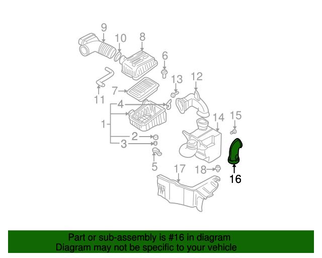 282142D001 Air Intake Air Duct OEM For Hyundai Elantra 2001-2006 2.0L