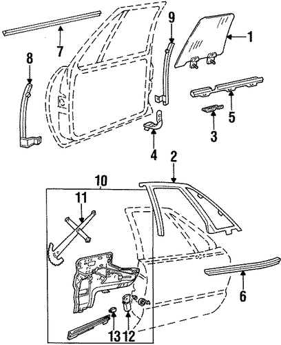 Glass - Front Door Parts For 1997 Buick LeSabre