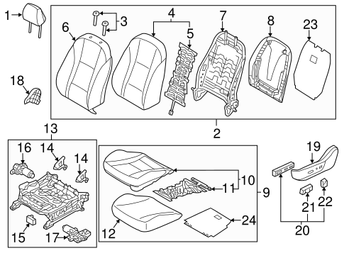 Front Genuine Hyundai 88360-A5030-SGD Seat Back Covering