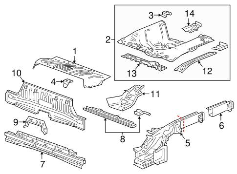 oem 2016 chevrolet spark rear floor rails parts. Black Bedroom Furniture Sets. Home Design Ideas