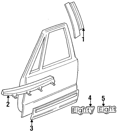 Exterior Trim - Front Door for 1998 Oldsmobile 88 #0