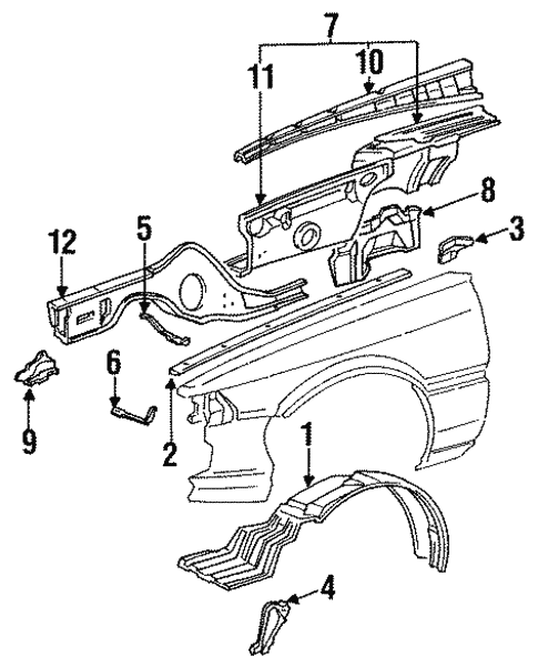 1990 Toyota Camry Body Parts Diagram