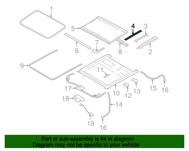 Genuine Hyundai 81666-3L000-X6 Sunroof Sunshade Assembly