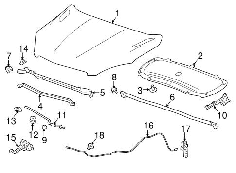 oem 2016 chevrolet trax hood components parts. Black Bedroom Furniture Sets. Home Design Ideas