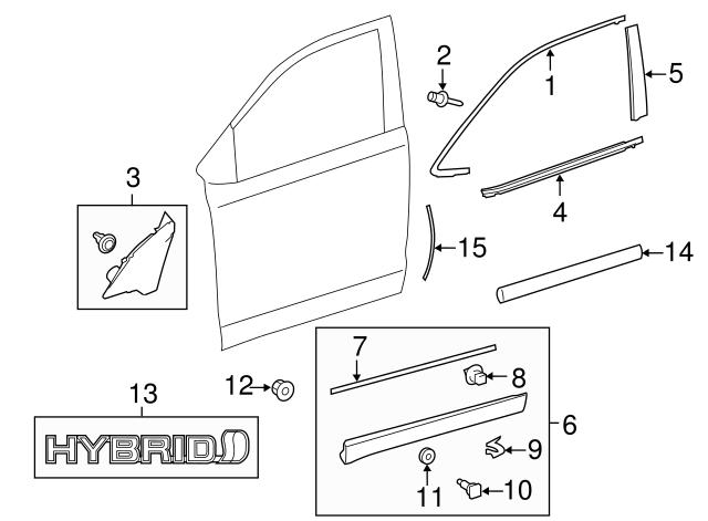 Genuine  Molding Body Side Predawn Gray Mica PT938-48141-11