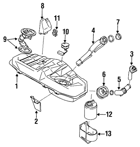 fuel system components for 1989 subaru justy
