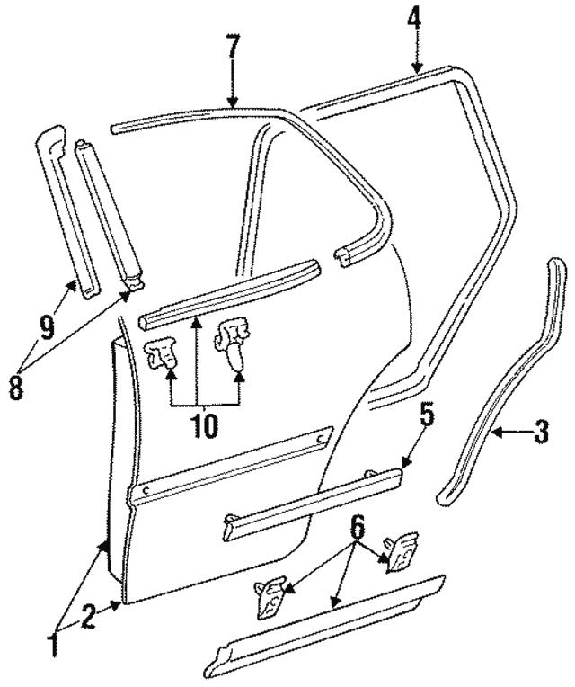 1992 1996 Toyota Camry Door Shell 67004 06011