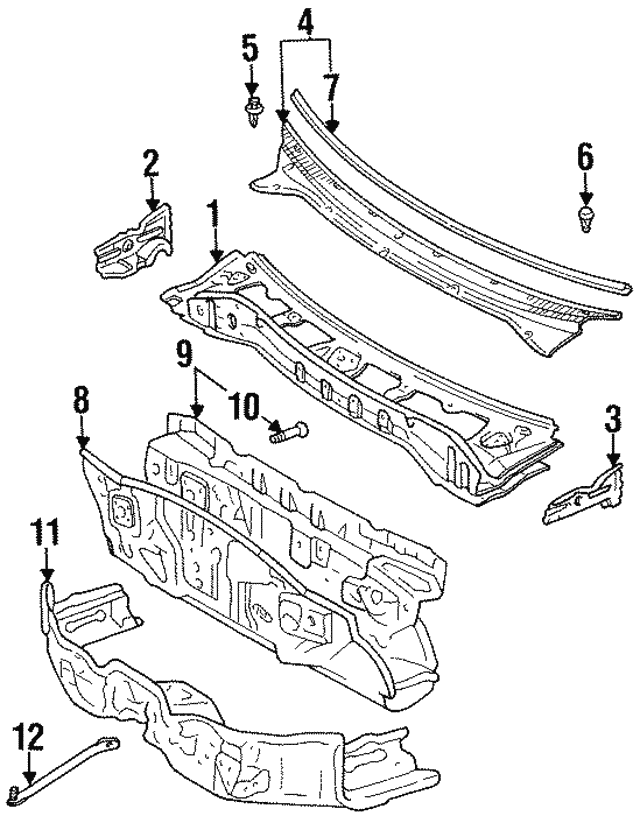 1992 1998 Toyota Cowl Vent Panel Clip 90467 10152
