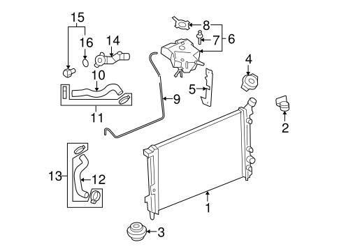 diagram for 2006 chevy uplander engine radiator   components for 2006 chevrolet uplander gmpartonline  2006 chevrolet uplander