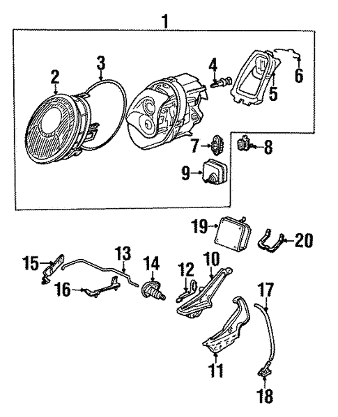 Headlamp Components For 1998 Porsche 911