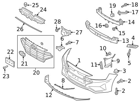 bumper & components - front for 2020 hyundai elantra | hyundai oem parts  direct  hyundai oem parts direct