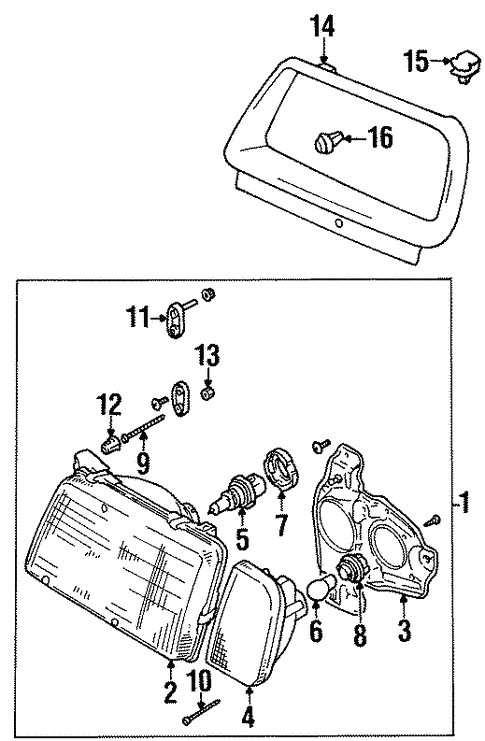 Headlamp Components For 1997 Suzuki Sidekick