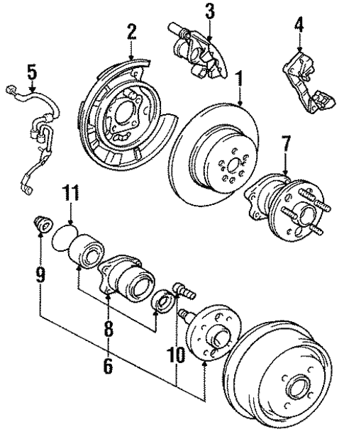 Genuine Oem Rear Brakes Parts For 1995 Toyota Camry Se