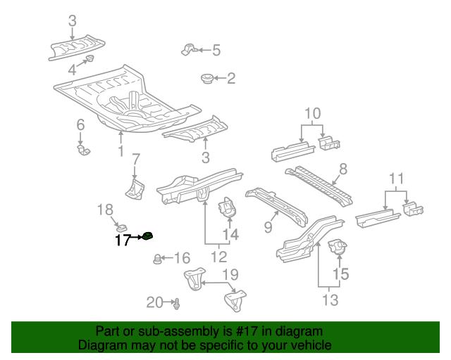 Side Rail Assembly Plug Toyota 90950 01259