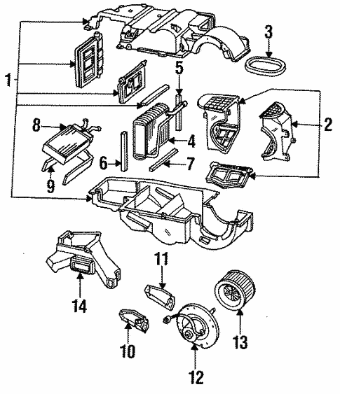 Evaporator Heater Components For 1997 Mercury Cougar