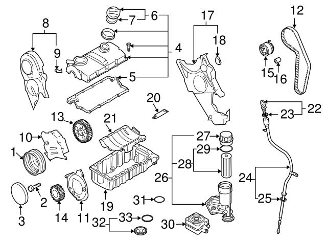 2005 2014 Volkswagen Filter Element Seal 071 115 444