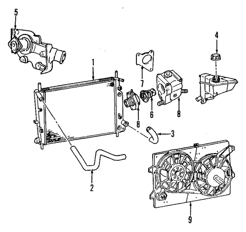 Cooling System/Radiator & Components for 1997 Ford Contour #1