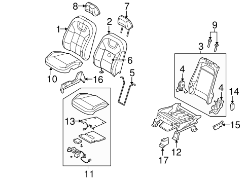 Body/Passenger Seat Components for 2011 Ford Focus #1