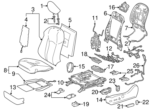 Driver Seat Components For 2016 Lexus Rx350