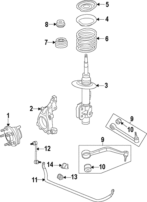 front suspension for 2009 pontiac g8 gmpartonline Car Suspension Diagram
