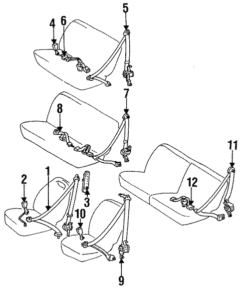 Rear Seat Belts For 1996 Toyota Previa