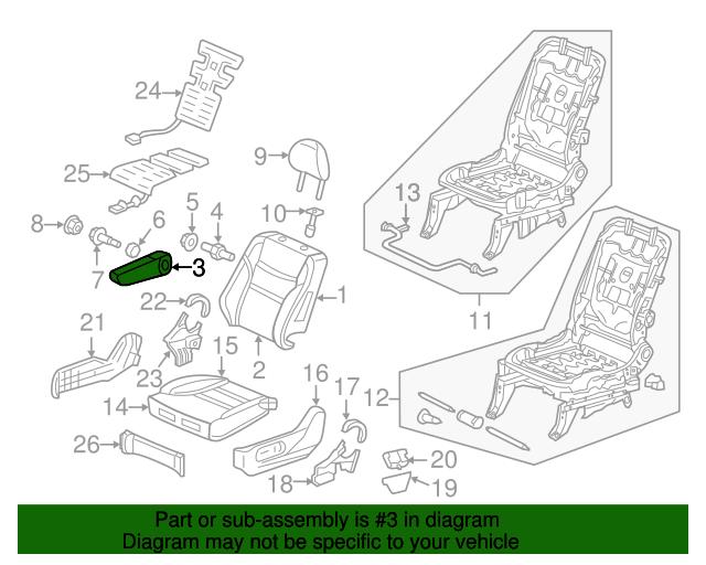 Right Front Honda Genuine 81180-TK8-A31ZB Seat Armrest Assembly