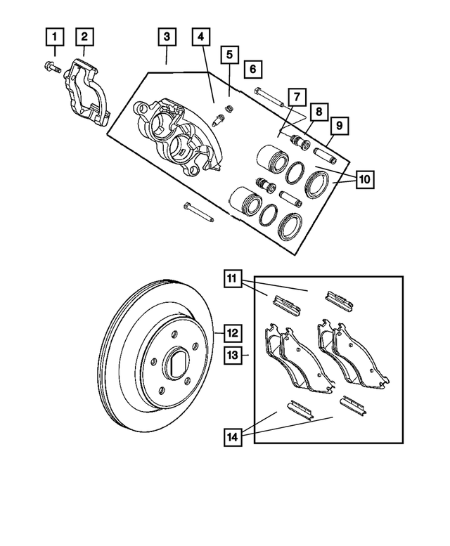 Rear Disc Brake Pad Kit - Mopar (5139917AB)