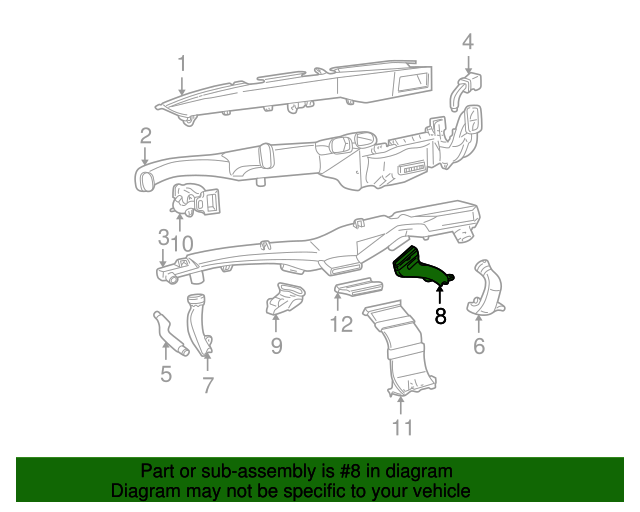 floor duct gm 25760816 gmpartsdirect GM V6 Engine Section View manufacturer gm