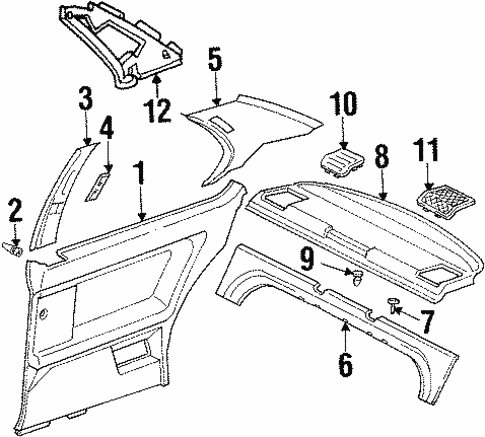 Interior Trim - Quarter Panels for 1994 BMW 325is #0