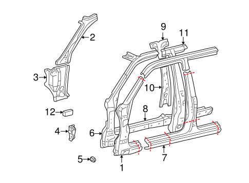 BODY/HINGE PILLAR for 1999 Toyota Land Cruiser #1