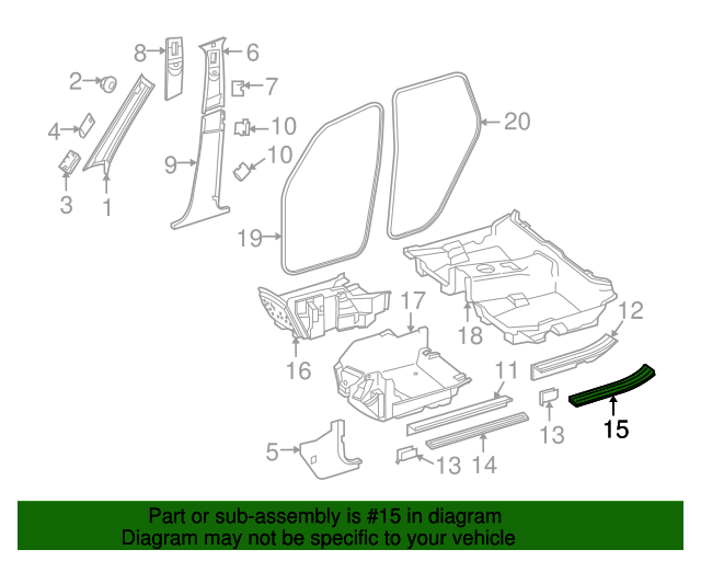 Rear sill plate mercedes benz 205 680 01 35 mb parts exp for Mercedes benz part numbers list