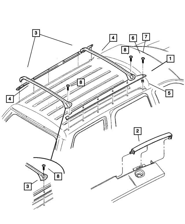 Luggage Rack Package, Roof, Cross Rail - Mopar (5003984AA)